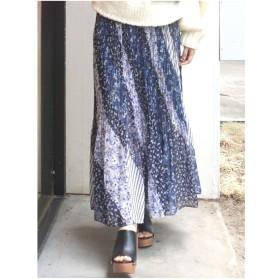 MERCURYDUO パッチワークフラワープリーツスカート(ブルー)