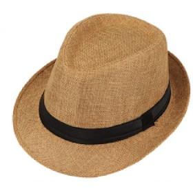le ciel ストローハット ハット 麦わら カンカン帽 紳士帽子 パナマ帽 春夏 帽子 日焼け防止 UVカット メンズ (ブラウン)