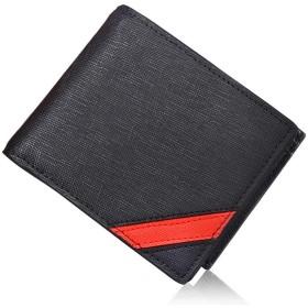 【ACLUO】二つ折り財布 メンズ 本革 小銭入れ 財布 (赤い)
