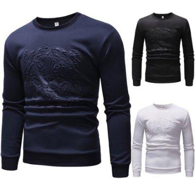 『X-男人館』 N8 外貿男士時尚衛衣 老虎頭燙印花圖案T恤 長袖T恤 打底衫 棉質TNRG1016