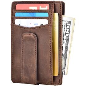 Kinzd マネークリップメンズ カード入れ、お札入れ RFIDブロッキング小さい財布 磁石なしお札挟み (02-クレージーホースダークブラウン)