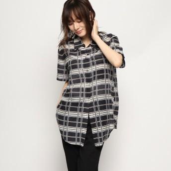 リネーム Rename シルク混チェックシャツ (ブラック)