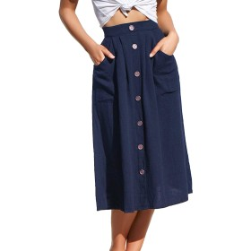 女性夏カジュアルは、ポケット付きのハイウエストボタンダウンミディスカートをスカート Darkblue L