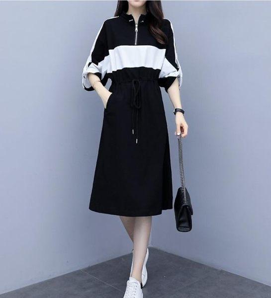 中大尺碼洋裝連身裙休閒裙禮服XL-5XL/胖MM顯瘦休閒運動衛衣連衣裙3F089-A.9211.1號公館