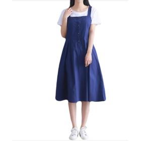 Duck family(ダックファミリー) ジャンパースカート ワンピース 前ボタン ひざ丈 シンプル スカート (L, ブルー)