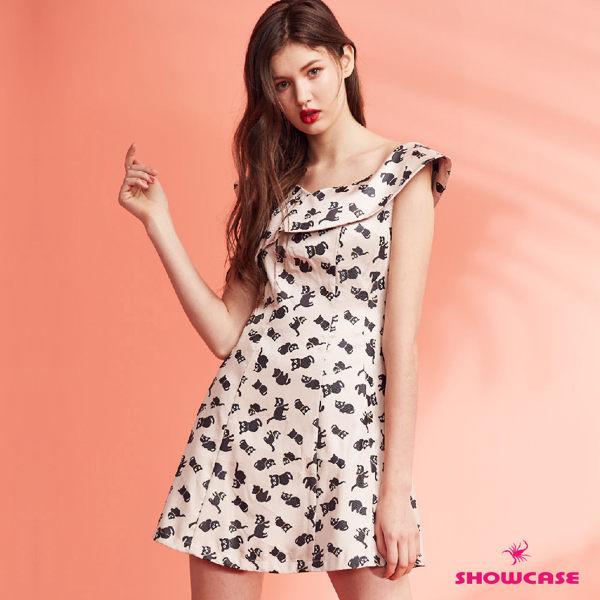 可愛小貓印花 氣質交叉領 俏麗/時尚穿搭必備