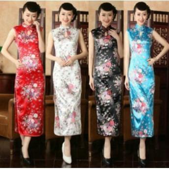 チャイナドレス 花柄 ロング丈 無袖 シルクタッチ サイズ:M 色:孔雀+青い