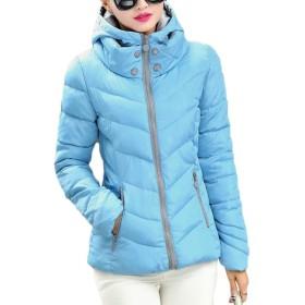 FRPE 女性スリム厚いジップフロントパーカー暖かいキルトパフダウンジャケット Blue US M