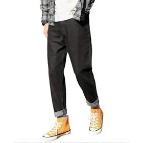 (ソインガ) Soinnga デニムパンツ サルエルパンツ メンズ ジーパン ゆったり ワイドパンツ 袴パンツ ハロンパンツ 9分丈 テーパード ジーンズ ブラック 34