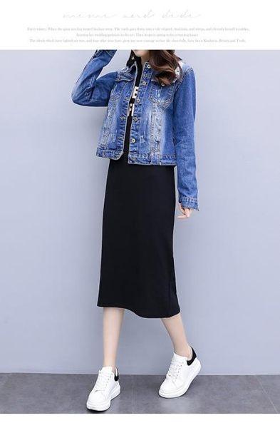外套連身裙中大尺碼L-5XL/7063新款大碼女裝洋氣牛仔外套衛衣連身裙兩件套裝F4082.1號公館