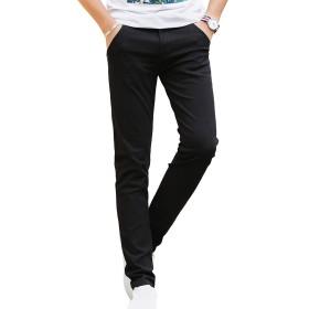 ODFMCE ロングパンツ メンズ チノパン ストレッチ ズボン スリム スキニー 無地 綿 カラーパンツ 大きいサイズ (ブラック, 30)