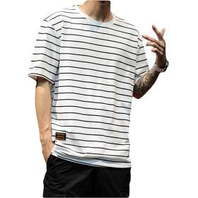 [NEXTCORNER]tシャツ メンズ 半袖 クルーネック ストライプ スリム 綿 薄手 夏 カジュアル スポーツ