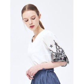 (TAKA-Q/タカキュー)ツイル×綿ブロード半袖刺繍プルオーバー/レディース ホワイト
