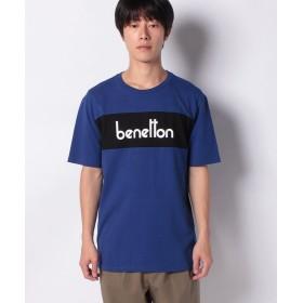 【30%OFF】 ベネトン(ユナイテッド カラーズ オブ ベネトン) パネルロゴ半袖Tシャツ・カットソー メンズ ブルー M (国内M相当) 【BENETTON (UNITED COLORS OF BENETTON)】 【セール開催中】