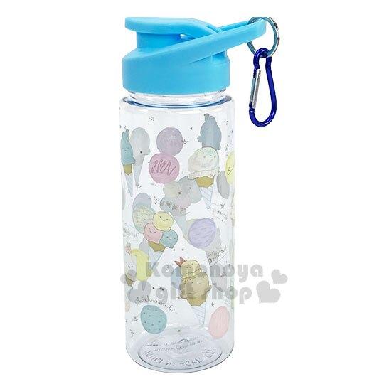 〔小禮堂〕角落生物 透明隨身冷水瓶《藍蓋.冰淇淋》500ml.運動水壺.隨身瓶