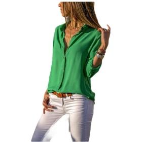 EnergyWD 女性の緩やかなエレガントなロングスリーブシングルブリードソリッドカラートップ Green XL