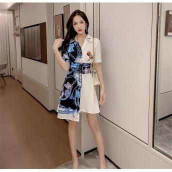 韓国ファッション/女 花柄ワンピース不規則 スリムフィット プリント シャツ Vネック 半袖 ドレス