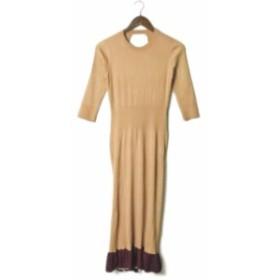 TOGA PULLA トーガ プルラ 19SS Wide Rib Knit Dress ワイドリブニットドレス TP91-XH207 36 ベージュ