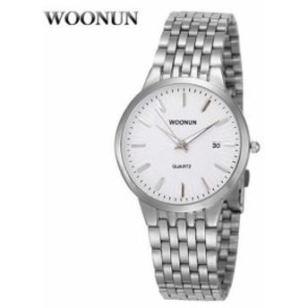 海外有名ブランド メンズ腕時計 WOONUN ステンレススチール クォーツ 薄型 Relogio Mascu 8036BSW