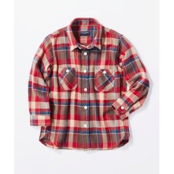 BACK NUMBER チェック柄シャツ(ジュニアサイズ150-160cm) キッズ ブラウン