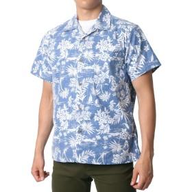 [ルーシャット] アロハシャツ コットン 裏使い 総柄プリントシャツ ネイビー LL