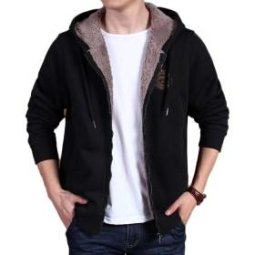 [ジンニュウ] メンズ パーカー 裏起毛 アウター ジャケット 裏ボア あったか 柔らかい カジュアル 大きいサイズ おしゃれ 秋冬 ブラックXL