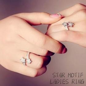 オープンリング リング 指輪 アクセサリー レディース 流れ星 星 スター 流星 ラインストーン シルバーカラー キラキラ 煌めく 輝く 飾り 装飾