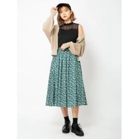 セシルマクビー CECIL McBEE フラワープリントスカート (グリーン)