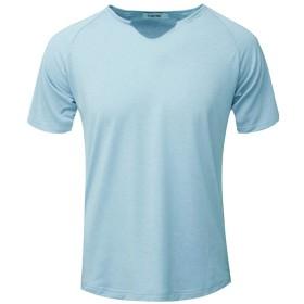 スポーツシャツ コンプレッショントップス メンズ Florrita 男性 半袖 Vネック スポーツシャツ Tシャツ 大きいサイズ コンプレッションウェア 加圧インナー 冷感 吸汗速乾 UVカット パワーストレッチ トレーニングウエア ランニングウェア オールシーズン ブラウス