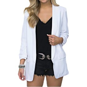 VITryst 女性固体オープンオープンスリーブスキニーコートブレザージャケット White XS