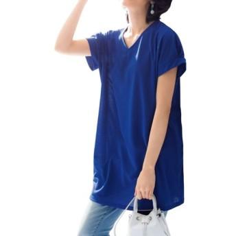 50%OFF【レディース】 スマートドライVネックチュニック(吸汗速乾・UVカット) - セシール ■カラー:ブルー ■サイズ:M,3L