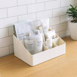 KM生活 日式簡約多功能化粧品/首飾收納盒/桌面儲物盒(6格)
