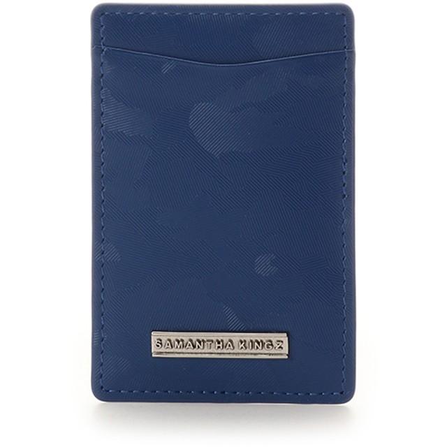 キングズ バイ サマンサタバサ カモフラ型押しレザー パスケース ブルー