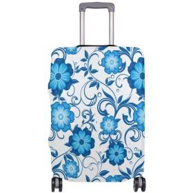 スーツケースカバー 青い花柄 (2) 伸縮素材 旅行 弾性設計 防塵 ラゲッジカバー キャリーカバー 人気 S M L XL お荷物カバー