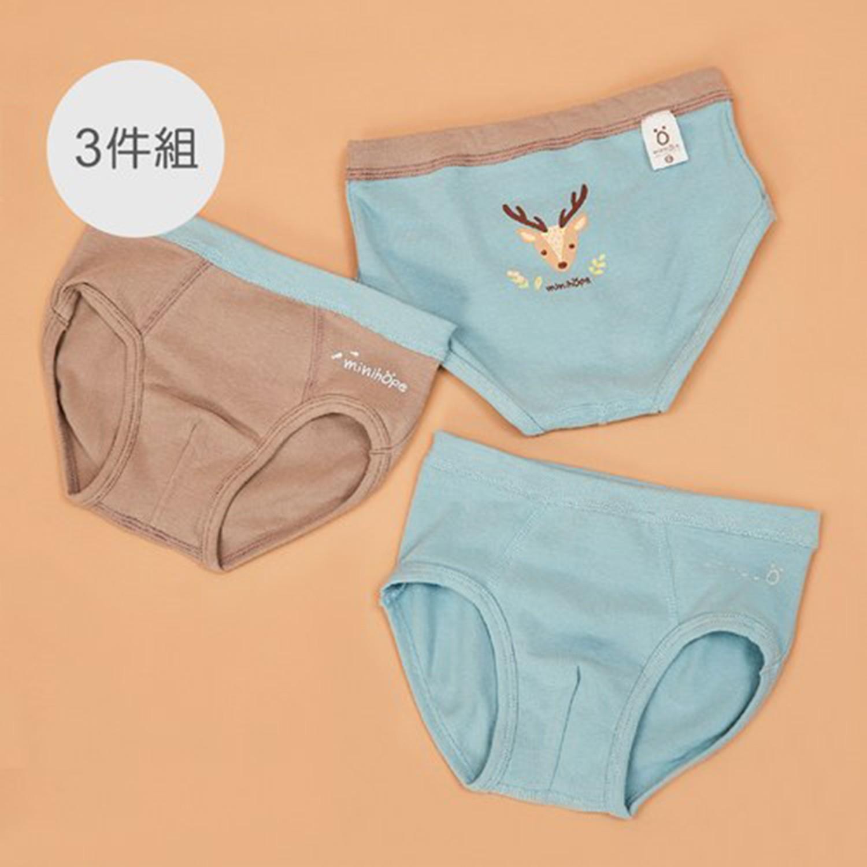 minihope美好的親子生活 - 保育動物男童三角褲組 (S)-水鹿、水獺、穿山甲