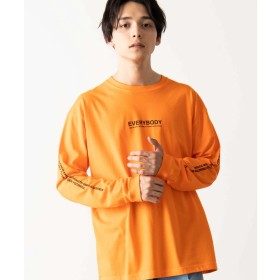WEGO WEGO/スリーブロゴロンT(オレンジ系)【返品不可商品】
