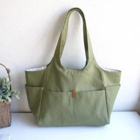 秋色!11号帆布すっきりトート*マチ広前面ポケットで大容量のポケットたくさん軽いバッグ