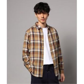 エディフィス キュプラ×コットン チェックレギュラーカラー ワイドシャツ メンズ キャメル M 【EDIFICE】
