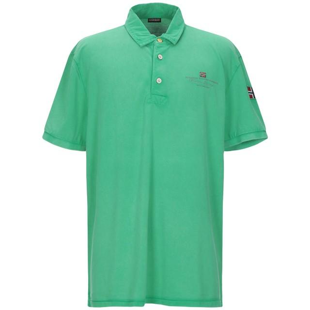 《期間限定セール開催中!》NAPAPIJRI メンズ ポロシャツ グリーン 3XL コットン 100%