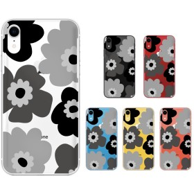 iPhone XS / XS Max / XR / 8 / 8 Plus / 7 / SE / 6 / アイフォン スマホ ケース ハード カバー 花柄 けし 黒 透明