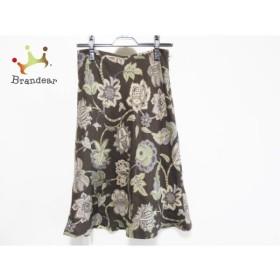 スキャパ Scapa ロングスカート サイズ38 L レディース ダークブラウン×グリーン×マルチ 花柄   スペシャル特価 20191119