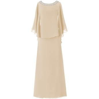 Dresstell(ドレステル) フォーマル 結婚式ドレス ドルマンスリーブ ビジュー付き ママのタイプ レディース シャンペン 29W号