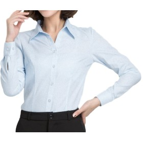 applesnow(アップルスノー) ブラウス ワイシャツ ドレスシャツ ベーシック 長袖 タイト スリム トップス レディース 襟 (XL, 青)