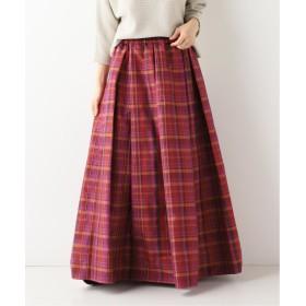 SLOBE IENA タフタチェック ギャザーロングスカート