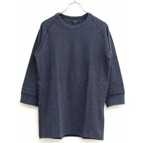 【38(M)サイズ】メンズ インナー アウトオブサイト クルーネック 7分袖 Tシャツ カットソー 肌着 無地 (96-blh7617) インディゴ