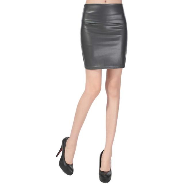 レディース ミニ レザースカート ハイウエスト タイト 黒 レッド 9色 無地 スカート