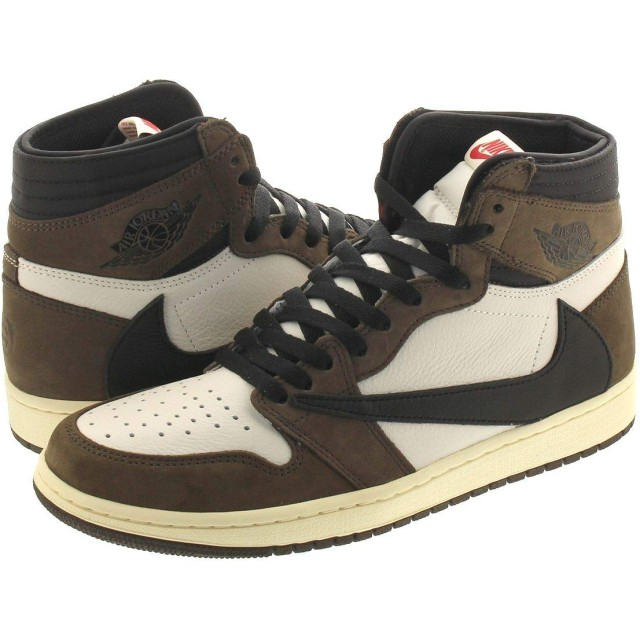 [ナイキ] AIR JORDAN 1 RETRO HIGH SAIL/BLACK/DARK MOCHA 【TRAVIS SCOTT】 US8-26.0cm [並行輸入品]