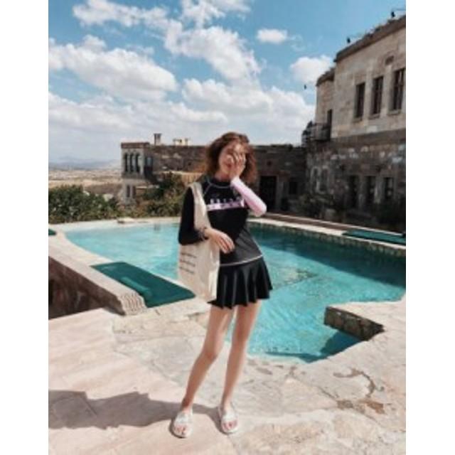 2019 オトナ女子 夏新作 フィットネス水着 レディース かわいい 体型カバー水着  b408