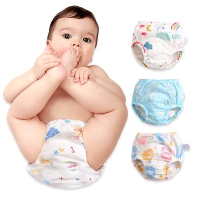 JoyNa【3件入】新款學習褲棉紗嬰兒尿布褲 吸水隔尿褲