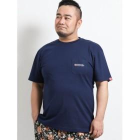 (TAKA-Q/タカキュー)【大きいサイズ】アウトドアプロダクツ/OUTDOOR PRODUCTS コットン天竺ポケット付クルーネック半袖Tシャツ/メンズ ネイビー